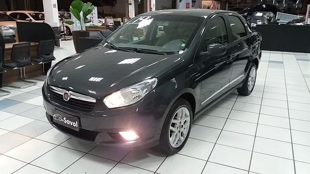Fiat Grand Siena Essence Dualogic 1.6 16V Flex Cinza 2014}